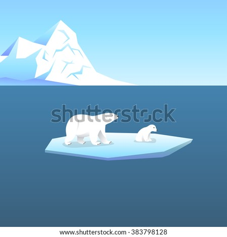 Vector background with two polar bears, she-bear and teddy bear standing on stylized glacier in the open sea. Cold climate. - stock vector