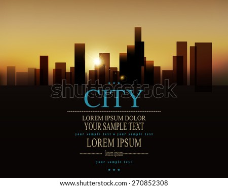 Vector background with urban landscape (buildings and sunrise) - stock vector