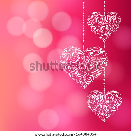Vector background with Valentine's Day decoration for your design. Vintage ornamental hearts on defocus background. Invitation or greeting card - stock vector