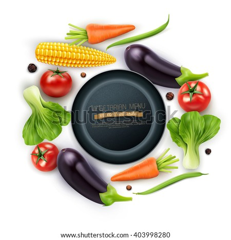 vector background with vegetables (tomato, eggplant, pepper, corn, green beans, carrots) and the pan - stock vector