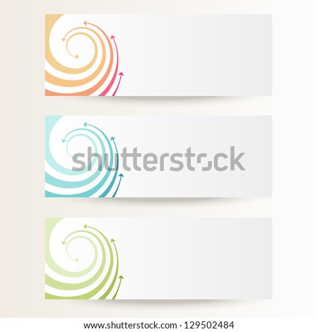 Vector background with wave of color twisted arrows. Brochure template with text box. Set of abstract cards with concept of movement. Banners with simple decorative design element for print and web - stock vector