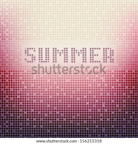 Vector background with word SUMMER. Blurred background with small circles. Pastel stylish card - stock vector