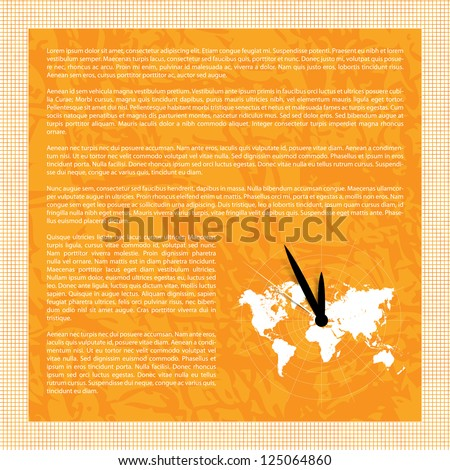 Vector background with world map and clock - space for text - stock vector