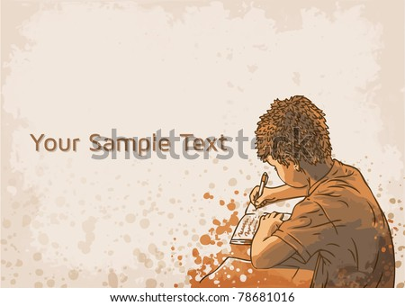 vector background with writing boy - stock vector