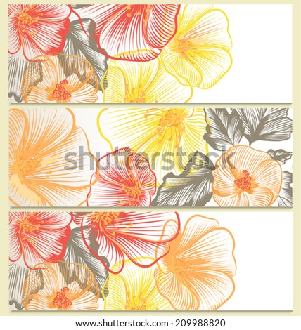 Vector backgrounds set with floral design - stock vector