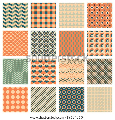 vector backgrounds, 16 simple geometric seamless patterns