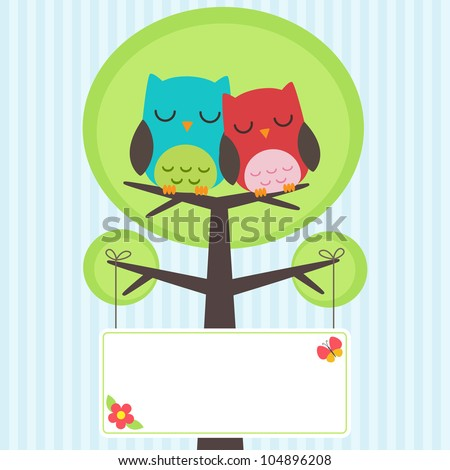 Vector backgrounds with couple of owls on the tree with place for text - stock vector