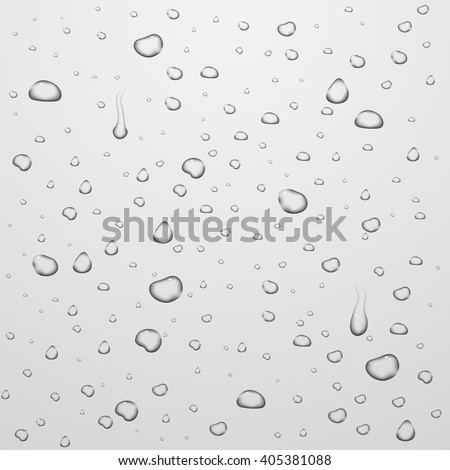 Vector backgrounds with water drops on glass. Water liquid drop, drop transparent, clean rain drop illustration - stock vector