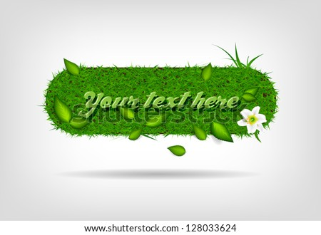 Vector badge / banner of green grass with leaves and a lily flower - stock vector