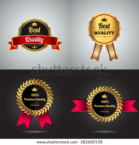Vector badge collection. Premium quality guaranteed golden label. Best quality golden badge, vector illustration. - stock vector