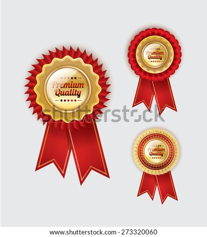Vector Badge set of red award ribbons and golden medals - stock vector