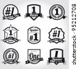 Vector badges, certificates and seal icons. Number One. - stock vector