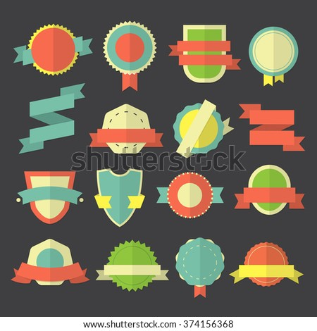 Vector badges, labels and ribbons / Flat style collection - stock vector