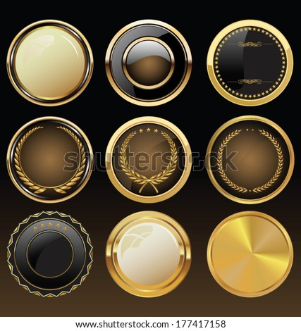 Vector Badges of Gold and black Seal Set - stock vector
