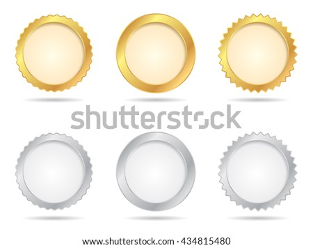 Vector Badges of Gold And Silver Seal Sets - stock vector