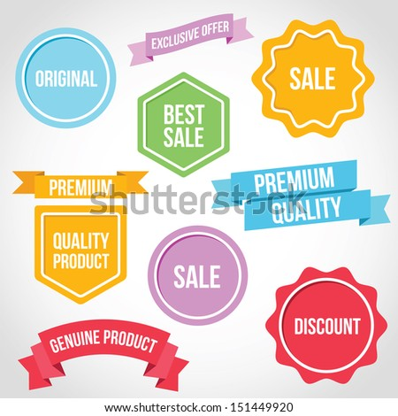 Vector Badges Ribbons and Stickers - stock vector