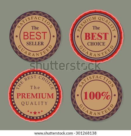 Vector badges. Round Badges, Stickers, Reward Set. Best seller, best choice, premium quality guaranteed. Retro vintage colors. Ribbons and decorative Elements. - stock vector