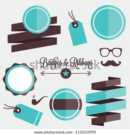 Vector Badges Stickers Labels and Ribbons Set 1 - stock vector
