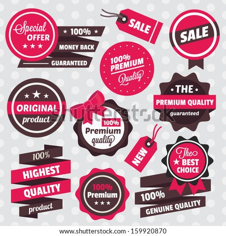 Vector Badges Stickers Labels and Ribbons Set - stock vector