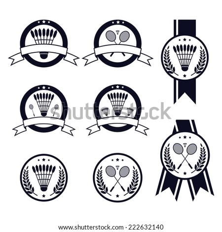 Vector badminton labels and icons set. EPS 10