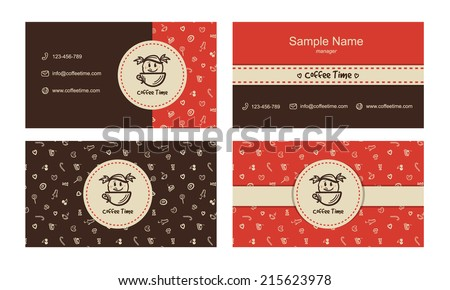 Vector bakery business card templates with logo and sweets icons pattern - stock vector