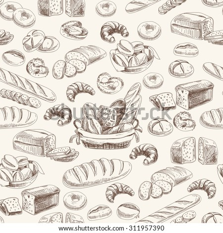 Vector bakery retro seamless pattern. Vintage Illustration. Sketch - stock vector