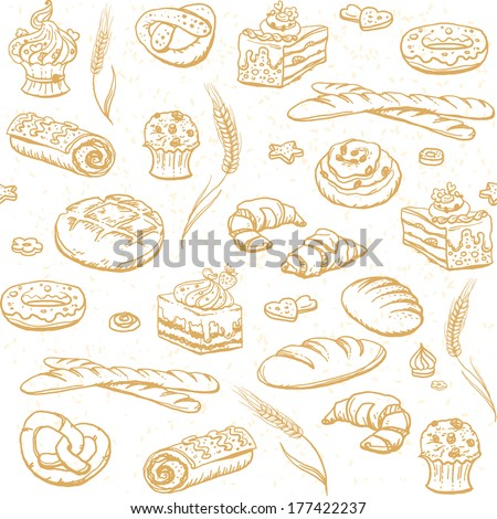 Vector bakery seamless pattern
