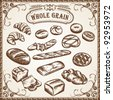 Vector Bakery Set Whole Grain - stock vector
