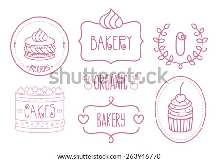Vector Bakery Shop Logo Template set - stock vector
