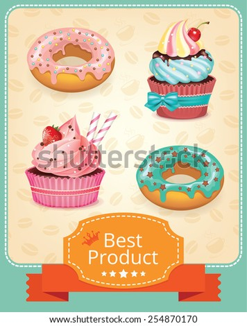 Vector baking banner color set - stock vector