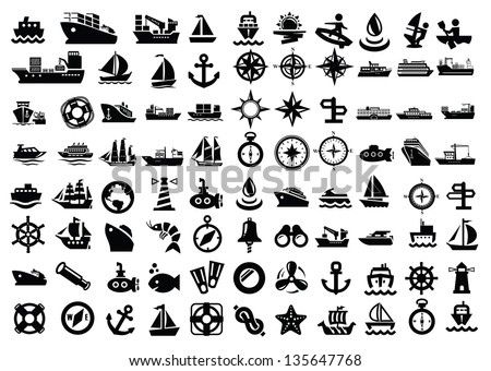 vector balack boat and ship icons set - stock vector