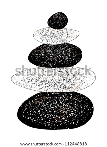 Vector balanced pebbles with dot pattern isolated on white background - stock vector