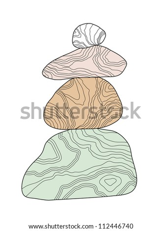Vector balanced stones isolated on white background - stock vector