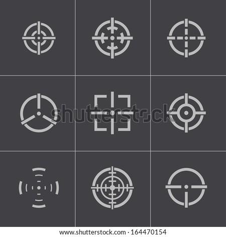 Vector balck crosshair icons set - stock vector
