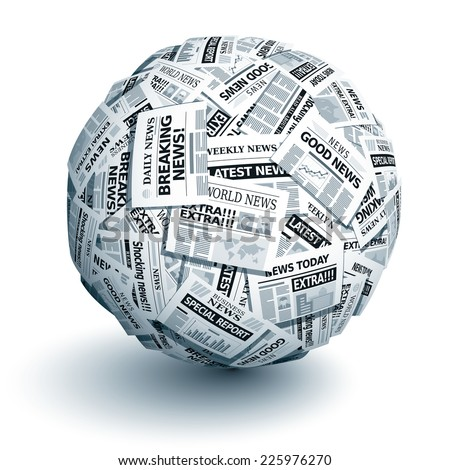 Vector ball of newspapers. Eps10. Transparency used. CMYK. Global colors. Gradients used. - stock vector