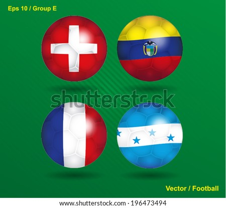 vector ball with flags - Group E  - stock vector