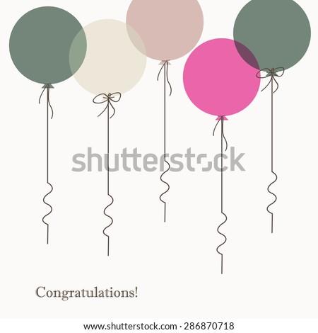Vector balloons in cartoon style. Congratulations printable - stock vector