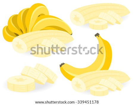Vector banana. Peeled and sliced bananas, collection of vector illustrations