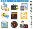 Vector Bank Icons Set 3 - stock vector