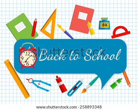 vector banner Back to school. School bags and stationery. - stock vector