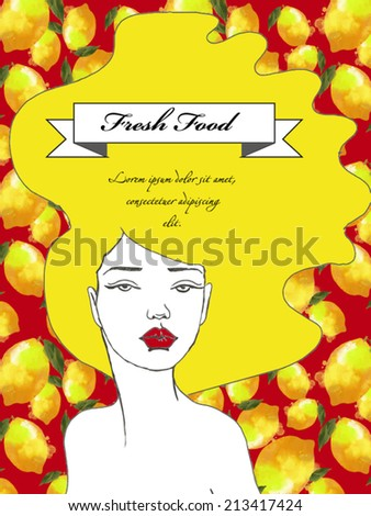 Vector banner background. Young girl with long hair and lemon ornament