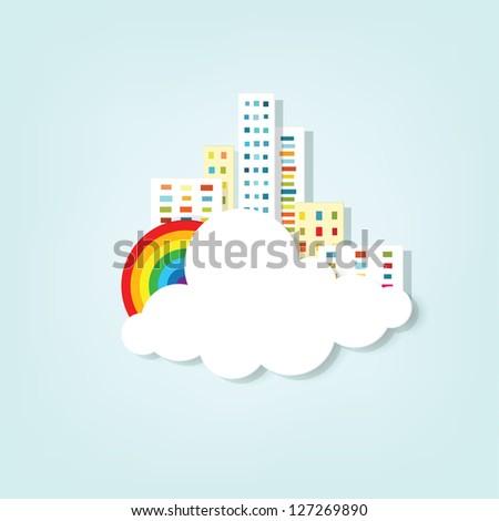 vector banner. cityscape - stock vector