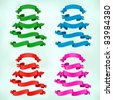 vector banner collection green, blue, red, pink - stock vector