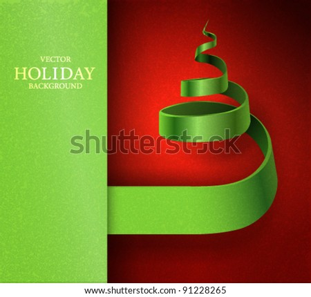 Vector banner design with ribbon  curling in a form of Christmas tree - stock vector