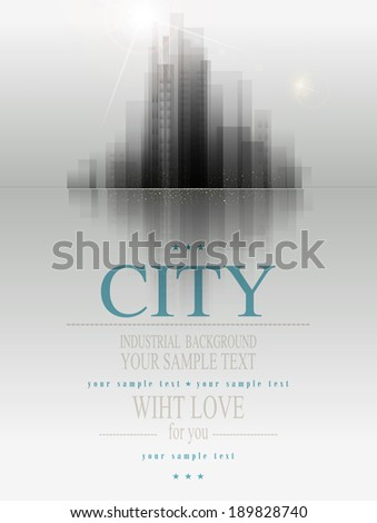 vector banner for business with the city and reflection - stock vector