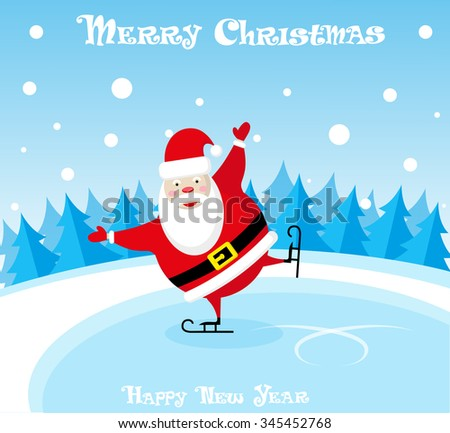 Vector banner funny santa claus in skates at the ice rink on blue gradient background