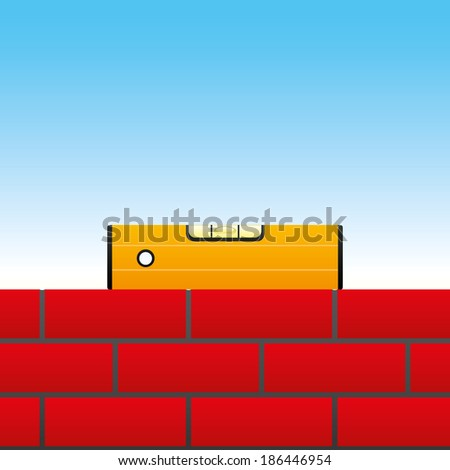 Vector banner. Level on the brick wall. - stock vector