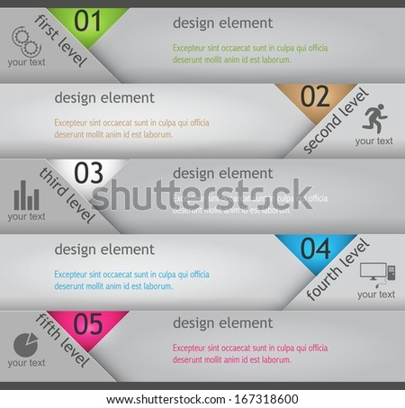 vector banner paper style for presentations, infographics, advertising - stock vector