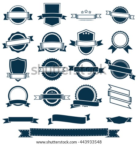 Vector banner ribbons, labels and emblems - stock vector