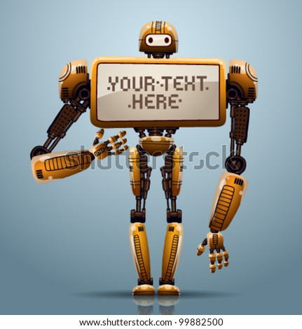 vector banner robot ?4 - stock vector